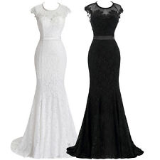 STOCK Long Vintage LACE Bridesmaid Formal Ball Party Cocktail Evening Prom Gowns