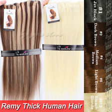 Top Thick 110-250g Clip in Remy Human Hair Extensions Doubl Weft Full Head BS315