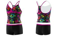 Speedo Kids Girl's Neon Love Tankini & Boyshort 2-PC Swimsuit Set, Blk/Pnk Sz 16