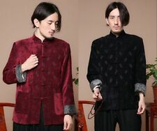 Black burgundy Chinese men's flannel clothing jacket/coat SZ: M L XL XXL XXXL