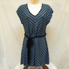 duetime maternity Blue and Black Striped Shirt Wiith Tie Belt Size Medium