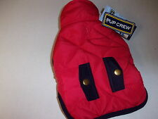 Red Quilted Navy Trim Pocket Jacket Dog XXS  New pet petco Pup Crew coat puppy