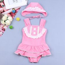 Baby Little Girl One-Piece Swimwear Kids Vintage Pink Swim Bathing Suit with Cap