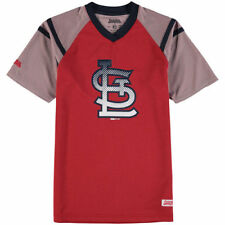 Stitches St. Louis Cardinals Youth Red/Navy Mesh V-Neck Jersey T-Shirt - MLB