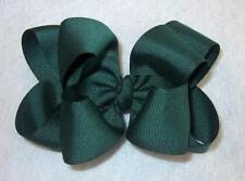 Girls hairbows Big hair bows double layer boutique bow Forest Green Headband 4""