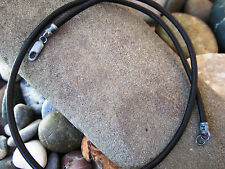 Genuine Leather Cord and Antiqued Pure Sterling Silver Necklace - 3mm Black mens