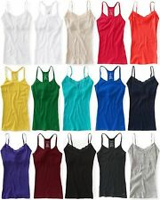 AEROPOSTALE WOMENS SOLID RIBBED CAMI TANK TOP RACERBACK LACE T-SHIRT NWT BRA