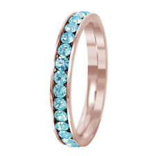 Stainless Steel Rose Gold Plated Eternity Aquamarine March Birthstone Ring 3MM