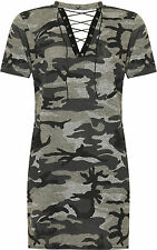 Plus Womens Choker Tie V Neck Top Ladies Camouflage Print Short Sleeve T-Shirt
