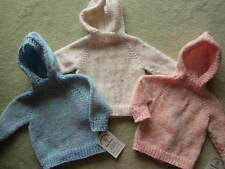 NEW! Hand Knit Baby Sweater w/ back zipper 6 mons Pick White, Pink, Blue tweed