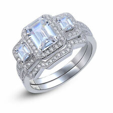 1.8 Ct Three Stones Rectangle Cz Solid 925 Sterling Silver Wedding Ring White