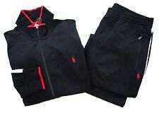 Nwt Polo Ralph Lauren Black Red Stripe Mockneck Pony Jacket & Pants Track Suit