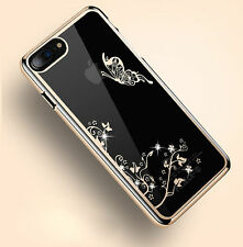 Luxury Diamond Bling Pattern Plated Hard PC Back Case Clear Cover For iPhone A