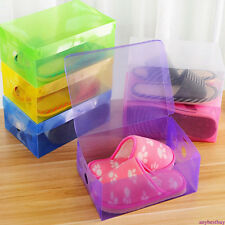 10x Foldable Clear Plastic Storage Shoe Organizer Boxes Clear Stackable Tidy Box