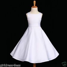 WHITE A-LINE SATIN WEDDING GOWN FLOWER GIRL DRESS 12M-18M 2 4 5/6 8 10 12 14 16