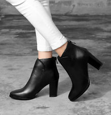 Genuine Cow Leather Thick High Heel Lady's Shoes Ankle Back Zip Women's Boots