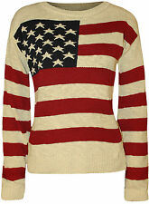 New Womens Stars Stripes USA American Flag Knitted Top Ladies Casual Jumper