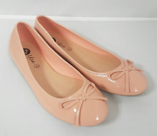Ladies Size 5 7 8 Patent Nude Pink Slip On Dolly Shoe Womens Flat Ballet Pump