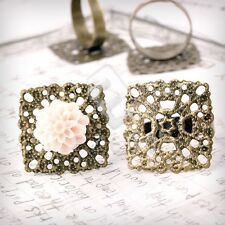 5/10pcs Square/Flower/Round Antique Brass Ring Mountings Engagement Setting