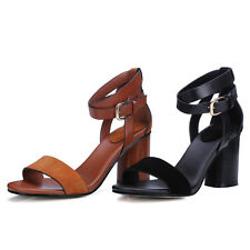 New UK All Size Women Shoes Real Leather Strap Thick High Heel Lady's Sandals