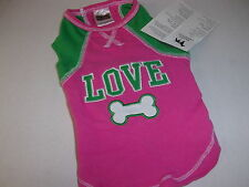LOVE Pink Tank Shirt Dog Pup Crew pet XS new puppy petco Girl female xsmall