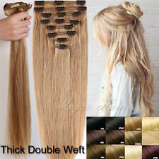 Thick 110g-250g Clip in 100% Remy Human Hair Extensions Full Head 8PCS UK N508