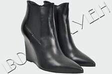SAINT LAURENT PARIS 1195$ Authentic New Black Leather Pointy Toe Wedged Booties