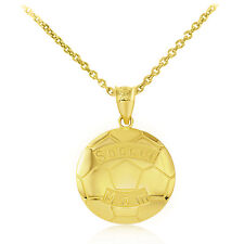 Fine 10k Yellow Gold Soccer Mom Soccer Ball Sports Pendant Necklace