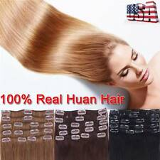 """7/8PCS Clip in 100% Remy Human Hair Extensions Gorgeous Full Head 10""""-24"""" BS478"""