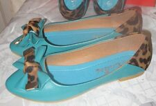 Women Spitz Flat Ballerina Ballet Dolly Pumps  Flat  Shoes Light Blue Mottled