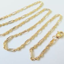 Real Solid 18k Yellow Gold Necklace Circle &Rope Link Design Chain Necklace Xlee