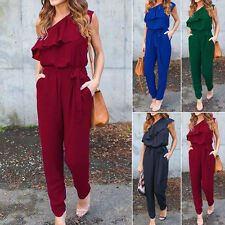 New Summer Women's Casual shoulder Chiffon Jumpsuit Romper Playsuit Long Pants #