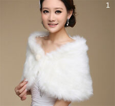 Women Fur Faux Fur Bolero White Wedding Bridal Wraps Wedding Bolero JacketHGUK