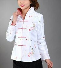 Charming Chinese Women's silk embroidery jacket /coat white Sz: 8 10 12 14 16