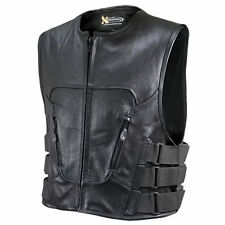 Xelement 1467 Men's Armored Perforated Premium Leather Motorcycle Vest