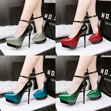 Gradient Stiletto Ankle Strap Pump Pointed High Heel Sexy Platform Womens Shoes