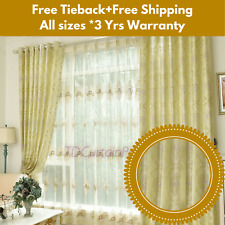 Beige*Ivory*Cream Swag Valance Pelmets Drapes Sheer Eyelet Floral Curtains Panel