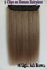 150g Ash Brown 5Clips On One Hairpieces Clip In 100% Real Human Hair Extensions