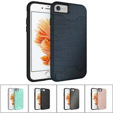 Credit Card Holder Hybrid Hard Kickstand Case Cover For Apple iPhone 7 6 6s Plus