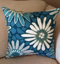 Pillow Cover - Blue Floral Print Pillow Cover - Indoor/Outdoor - Handmade
