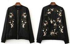 Womens Oriental Floral Embroidered Coat Embroidery Satin Baseball Bomber Jacket