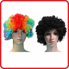 AFRO CURLY BLACK / RAINBOW COLOURED WIG HAIR CIRCUS CLOWN-PARTY-FUNNY COSTUME
