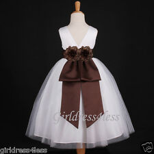 WHITE/BROWN CHOCOLATE PARTY PAGEANT FLOWER GIRL DRESS 12M 2 4 6 7/8 10 12