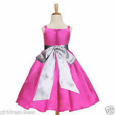Fuchsia Hot Pink Easter Wedding Party Flower Girl Dress 12M 18M 2 4 6 8 10 12