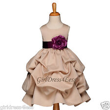 CHAMPAGNE/PLUM WEDDING PICK UP FLOWER GIRL DRESS 6M 9M 12M 18M 2 4 6 8 10 12