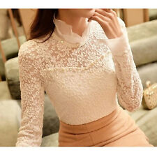 Fashion Womens Lady Slim Pullover T Shirt Long Sleeve Lace Tops Shirt Blouse HOT