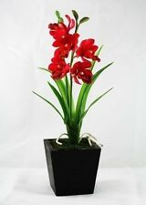 "Real Touch 10"" Cymbidium Orchids Artificial Flowers Made from Clay"