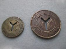 New York City NYC Subway Tokens     TWO SMALL Y TOKENS IN PICTURE