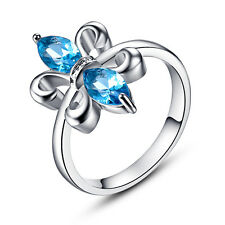 Swiss Sea Blue Topaz Fashion Jewelry 18K White Gold Plated Ring Size 6 7 8 9 10