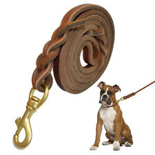 Brown Braided Genuine Leather Dog Lead Leash Anti-Bite for S/M Breeds Walking